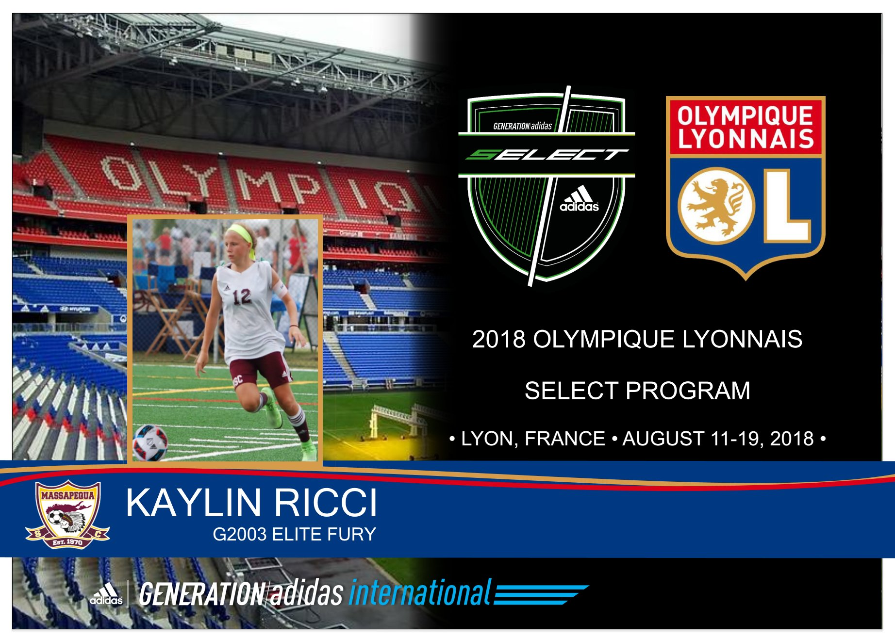 Kaylin Ricci joins Olympique Lyonnais as part of Generation Adidas Select Program!